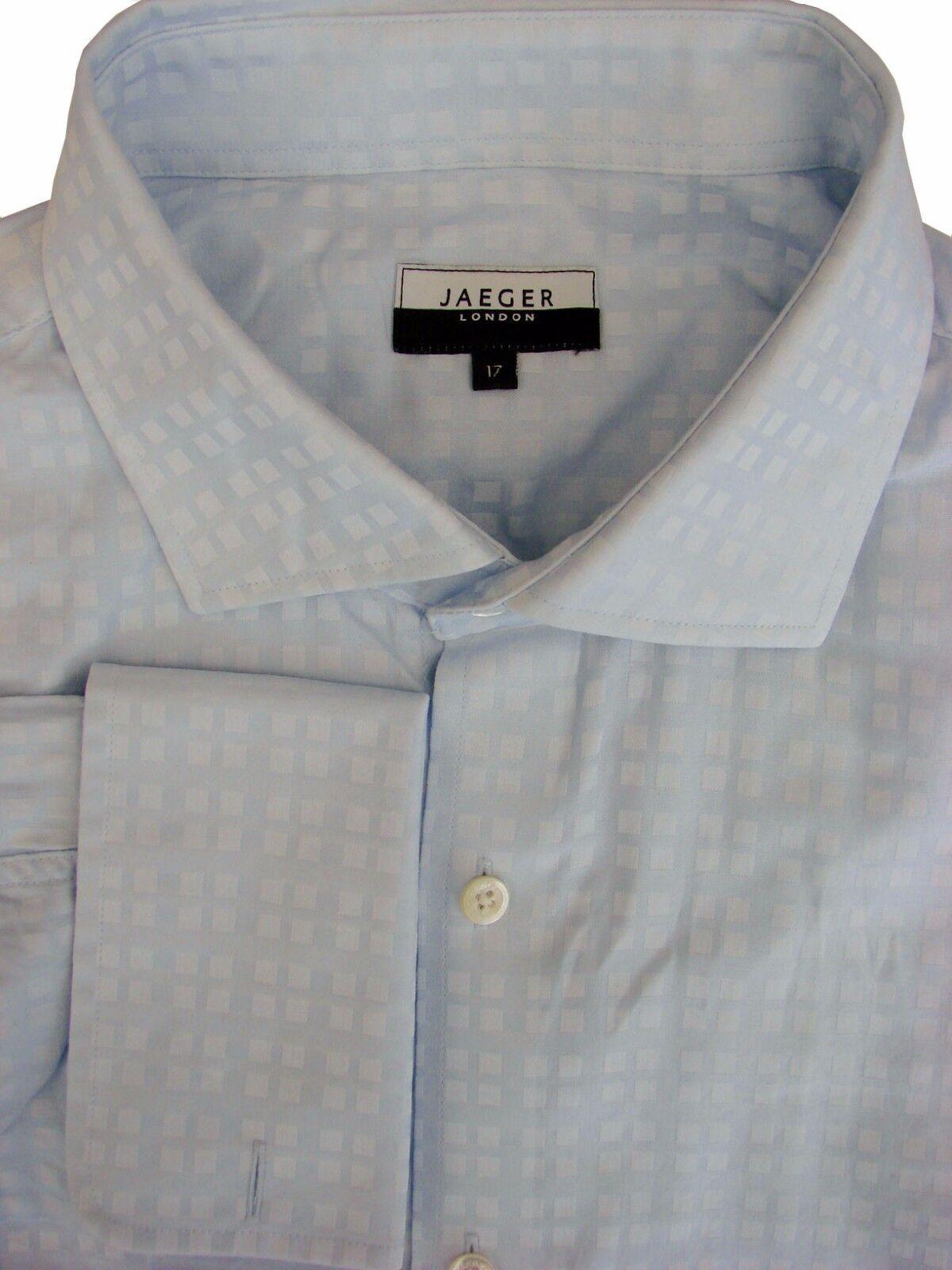 JAEGER Shirt Mens 17 L bluee – Squares – SHIMMERY