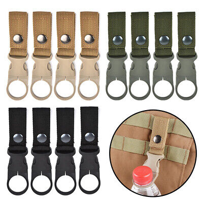 4X Outdoor Nylon Key Hook Webbing Molle Buckle Hanging Belt Carabiner Clip Black