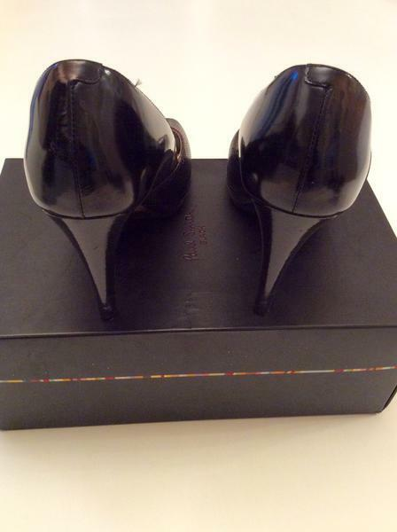 PAUL SMITH BLACK LEATHER & SIZE SUEDE TRIM PEEPTOE HEELS SIZE & 7/40 2bc0fa