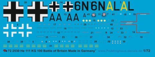 Peddinghaus 2530 1//72 He 111 KG 100 Battle of Britain