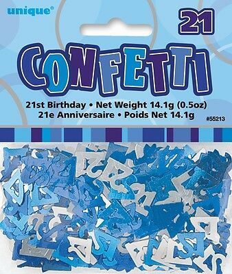 Blue Glitz Age 21 Birthday Table Confetti 14 Gram Packet 21st Party Decorations