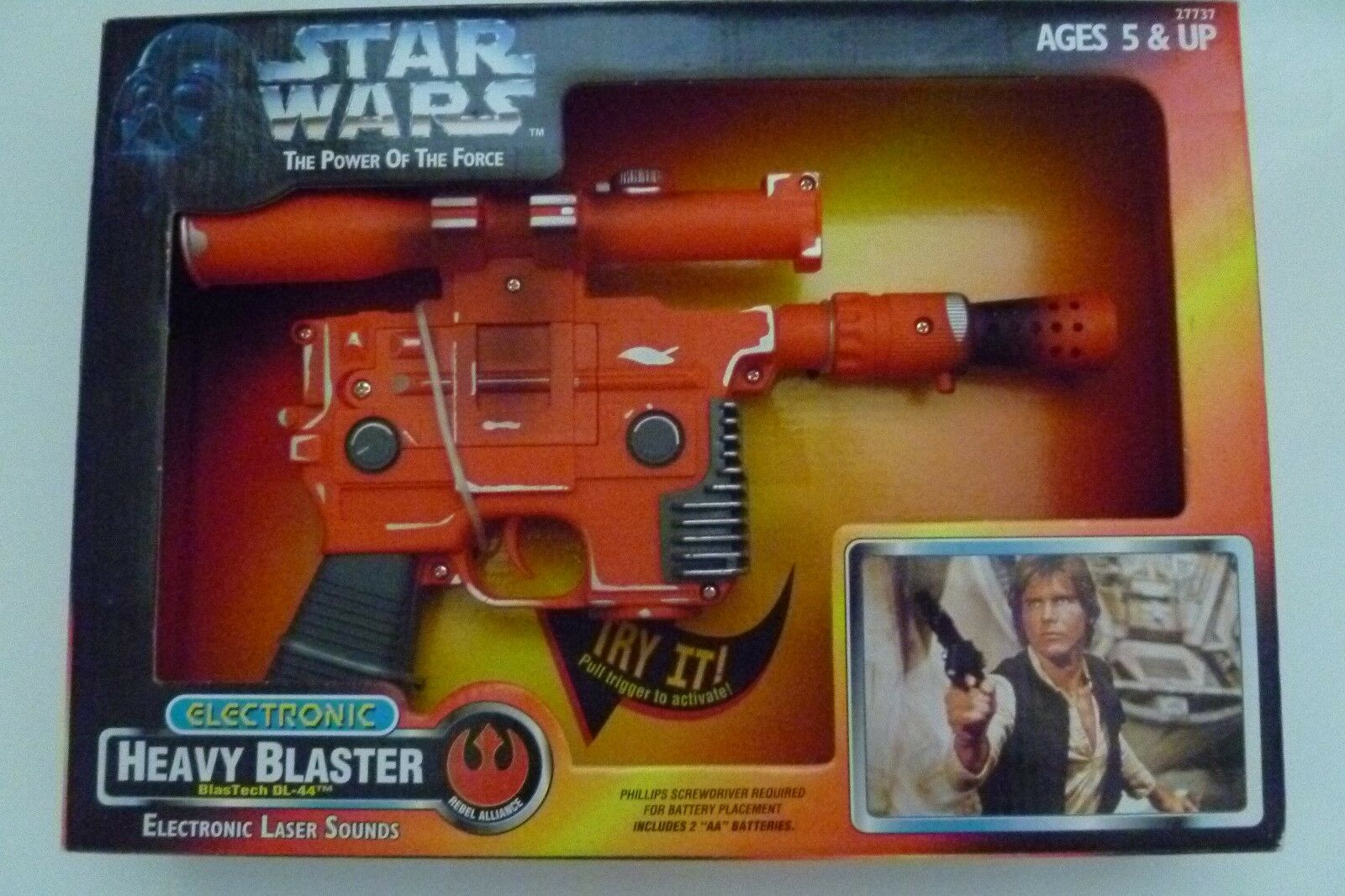 NIB 1996 KENNER Star Wars Power of the Force POTF electronic HEAVY BLASTER NEW