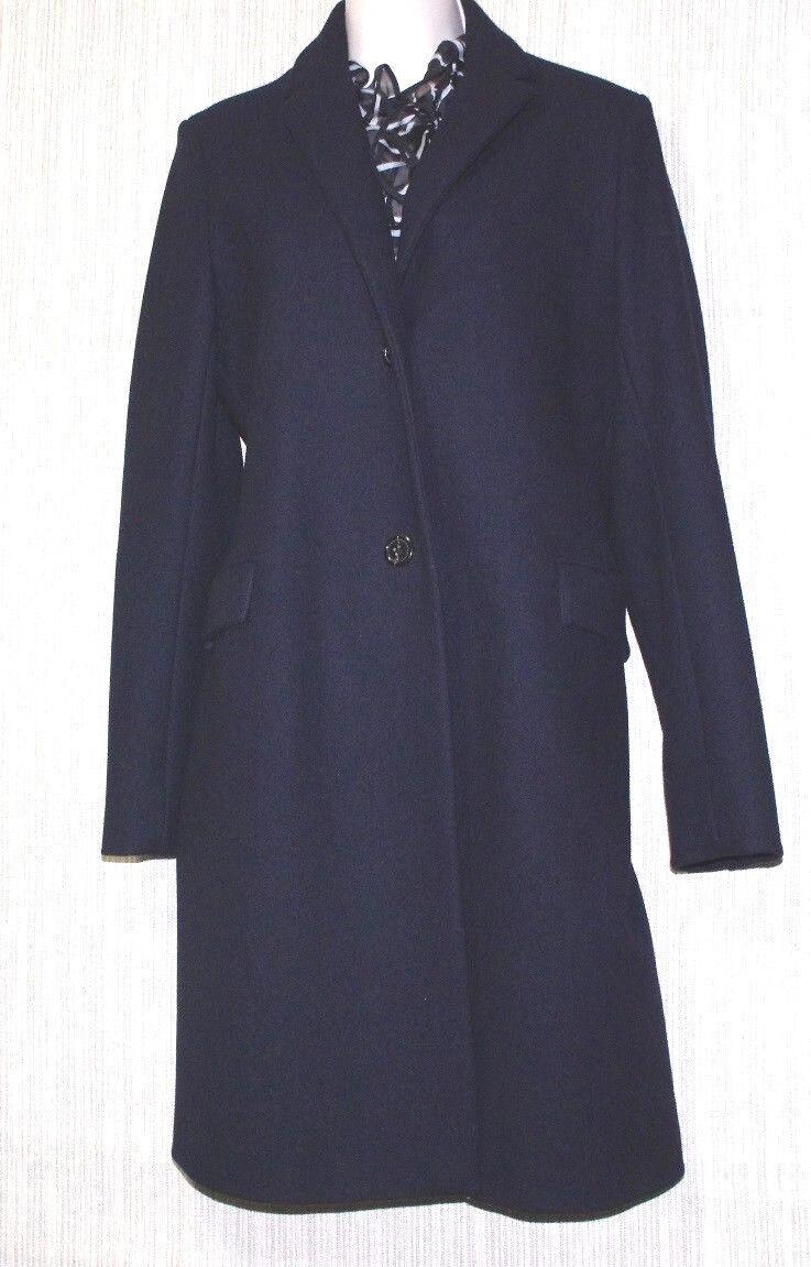 Jil Sander Navy bluee 100% Virgin Wool Women's Trench Coat Size 40 Made in