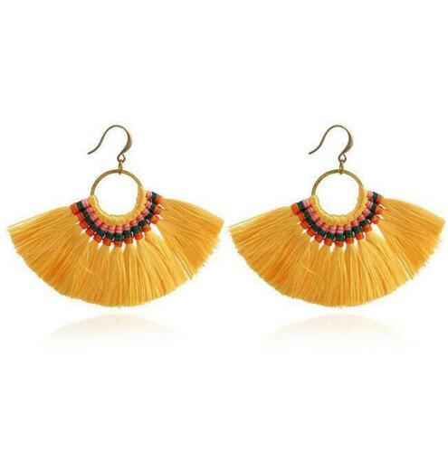 Earrings Women Jewelry Handmade Fringe Bohemian Long Tassel Earrings Dangle Boho