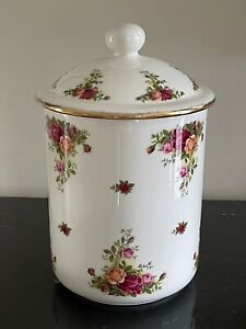 """Royal Albert Old Country Roses Porcelain 11"""" High Canister Made in England"""