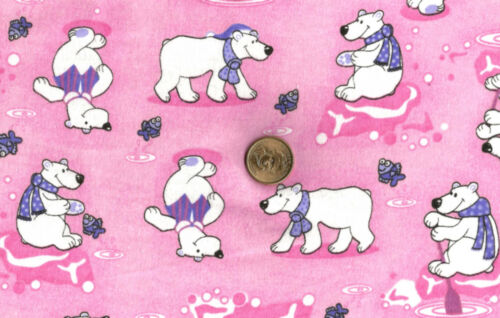 Fishing Polar Bears in Purple Scarfs on Pink  Flannel  BTY
