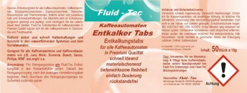 50 Pastilles Fluid-Tec compatible avec Saeco DeLonghi Jura Siemens AEG