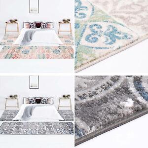 Details zu Bettumrandung Flachflor 3tlg.-Läuferset Patchwork Pastell  Grau/Blau Schlafzimmer