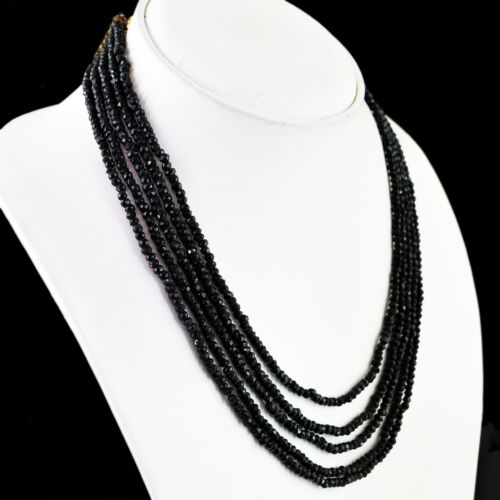 Amazing 212.00 cts Natural 5 Strand Riche Noir Spinelle Rond Cut Perles Collier
