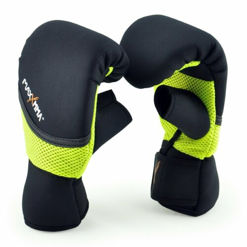MaxxMMA Neoprene Washable Heavy Bag Gloves - Boxing Training (Neon Yellow, L/XL)