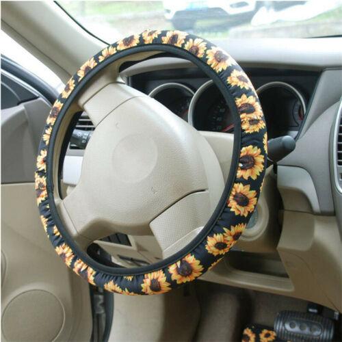 Car Vehicle DIY Sunflower Steering Wheel Cover Anti-slip Protector Universal N7