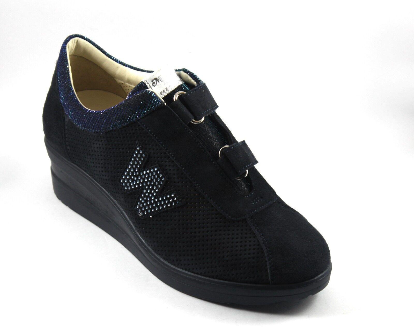 MELLUSO TENNIS mujer zapatillas PELLE NABUK azul A STRAPPO PLANTARE ESTRAIBILE n.41