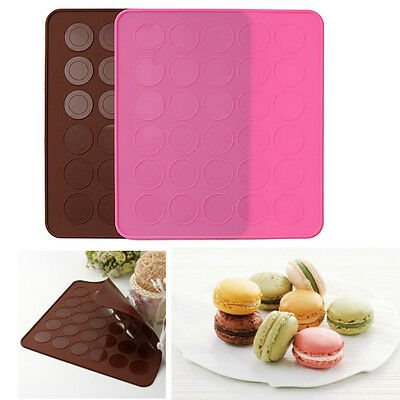 2Color 30-cavity Silicone Pastry Muffin Cake Macaron Oven Baking Mould Sheet Mat