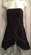 NWT Miss Sixty M60 Black Ruffle Stripe Strapless Tube Layer Size 8 Cotton Dress