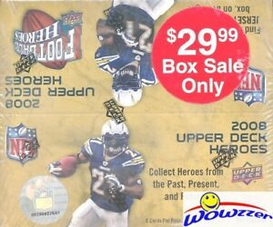 2008-Upper-Deck-Heroes-Football-MASSIVE-Factory-Sealed-24-Pack-Retail-Box-JERSEY