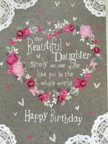Beautiful Daughter Daughter Grey Pink New. Lace Floral Details about  /Birthday Card
