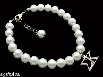 SIGMA KAPPA Greek Sorority 8mm White Glass Pearl Bracelet w Extender #FBR2149