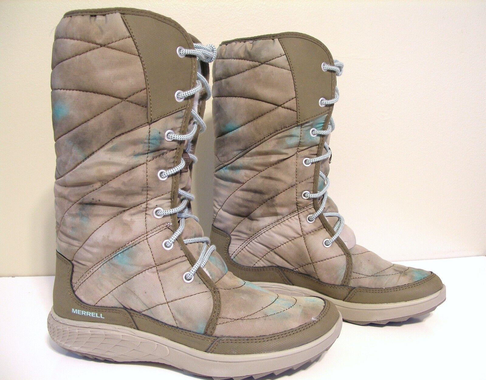 New MERRELL Pechora Peak Winter Boot Size 7 Taupe Tan Green camouflage J42762