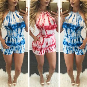 f17c8827d6 Women s Holiday Mini Playsuit Jumpsuit Rompers Summer Beach Casual ...