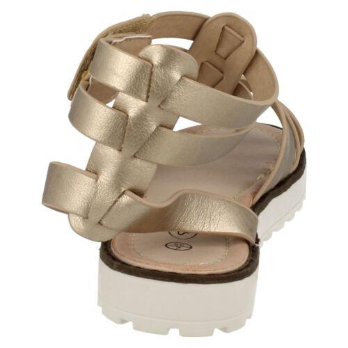 Girls H0131 Black /& White gladiator sandals  by SPOT ON Retail Price £15.00