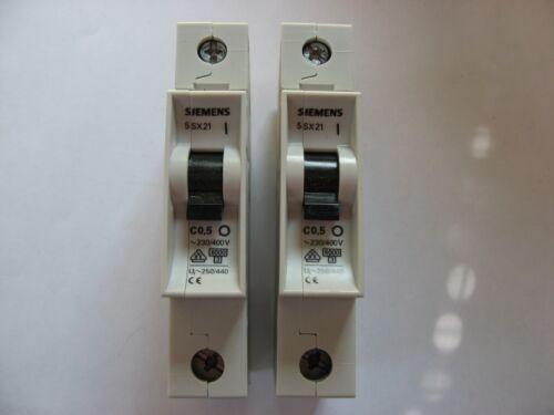 NEW* LOT//2* SIEMENS 5SX21 5SX2 MCB MINIATURE CIRCUIT BREAKER MAX 277V AC