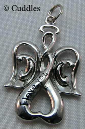 Angel Always in My Heart Charm Necklace I Love You Wings Halo Silver Look NEW