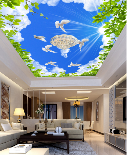 3D  Tauben Blätter 73 Fototapeten Wandbild Fototapete BildTapete Familie DE Kyra