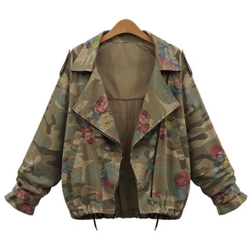 Women/'s retro rose print lapel jacket with large size camouflage jacket