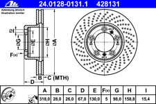 24.0128-0247.1 1x Bremsscheibe Bremse NEU ATE