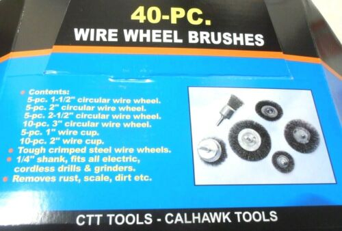 """40PC Wire Wheel Brush Cup  Assortment Crimped Steel 1//4/"""" Shank Drills Rust Scale"""