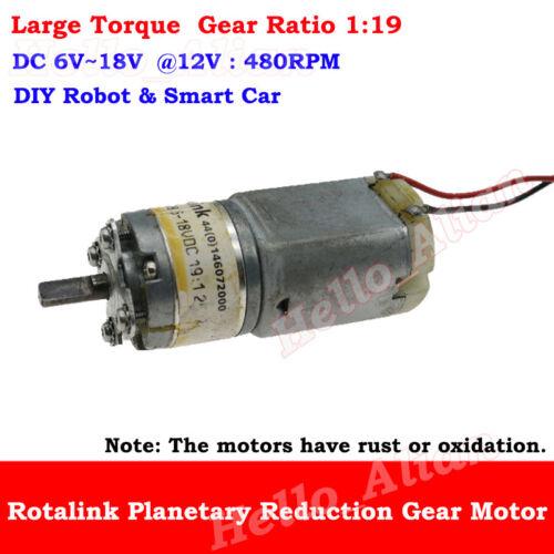 DC 6V-18V 12V 480RPM Mini Full Metal Gear Motor Planetary Gearbox DIY Robot Car