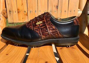 FootJoy-DryJoys-Golf-Shoes-53729-Black-Leather-amp-Brown-Crocodile-Trim-Men-13-M