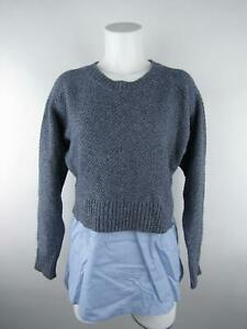 Banana-Republic-Women-039-s-sz-M-Blue-Cotton-Layered-Crewneck-Pullover-Sweater