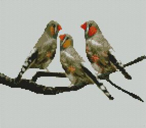 "Zebra Finches Birds Counted Cross Stitch Kit 10/"" x 8.75/"" Finch B2232"