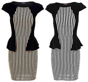 Damen Schwarz Gestreift Schulter Kurze Schosschen Damen Kleid Grosse 8 10 12 14 16 Ebay
