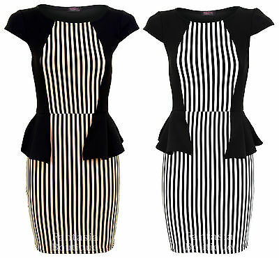 Ladies Black Striped Shoulder Capped Peplum Womens Dress Size 8 10 12 14 16