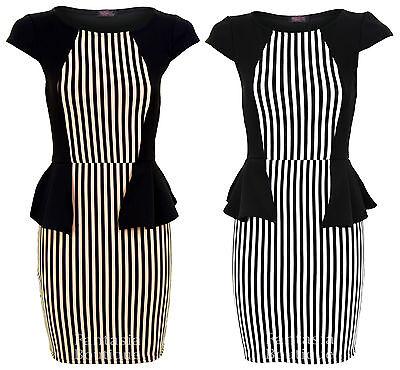 Ladies Black Striped Shoulder Capped Peplum Womens Dress Size 8 10 12 14 16