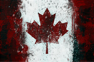 Canada Canadian Flag 24x36 Canvas Wall Art Print Ebay
