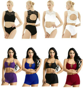 Sexy Womens Pole Dance Activewear Hollow Out Suits Tight Exercise Costumes Vest