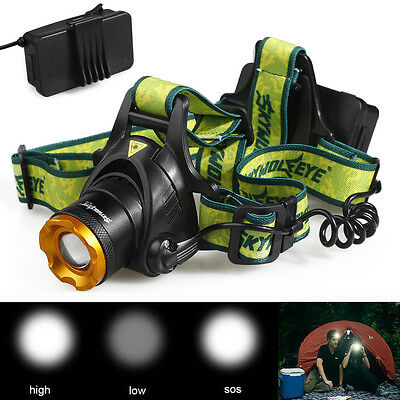 Rechargeable 20000LM 3-Mode XM-L T6 LED ZOOMABLE Headlight Headlamp TLY-19