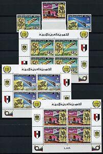 356-SPACE-RAUMFAHRT-1977-Libyen-Libya-UPU-Post-584-6-Block-26-28-MNH