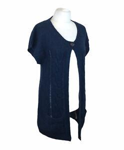 Fat Face Long Line Cardigan Jacket Cape Blue Wool Mohair UK 16