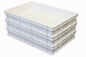 3 Stk. Pizzateigbehäl<wbr/>ter weiß Teigwanne Stapelbox 60 x 40 x 10 cm Gastlando