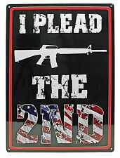 "12"" x 17"" Tin Metal Sign Wall Hang I Plead The 2nd Amendment Rifle American Flag"