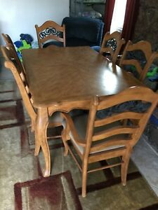 Details About Antique Pine 7 Piece Dining Room Set With Display Cabinet And Buffet Table