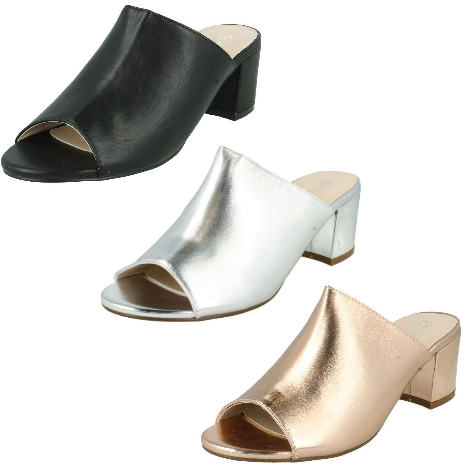 Ladies Anne Michelle Slip On Mules Mid Block F10664 Heels The Style - F10664 Block 39b14f