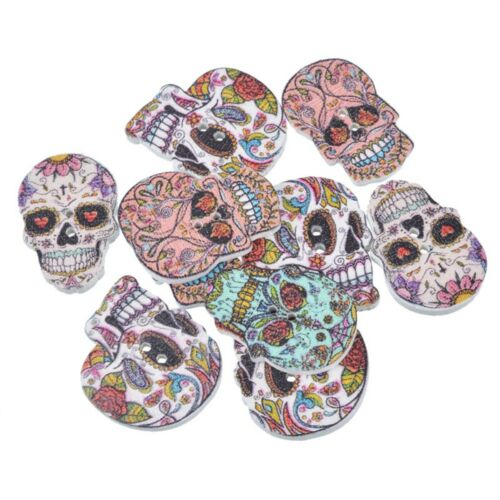 10 Unusual Bright Detailed Skull /'Day of the Dead/' Shaped Wooden Buttons