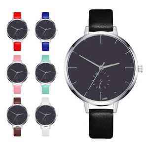 Damen-Schlichte-Quarz-Uhren-Leder-Armband-Round-Dial-Lady-ultraflache-Armbanduhr