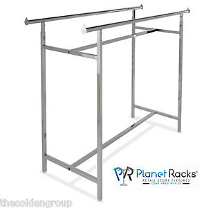 New Chrome H Rack Double Bar Heavy Duty Clothing Garment
