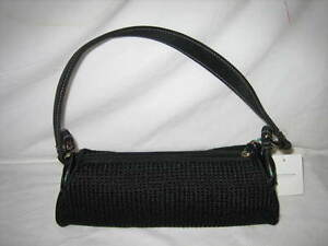 Image Is Loading Liz Claiborne Black Sporty Crochet Purse Handbag Cute